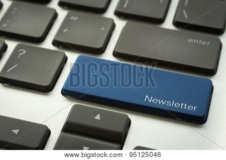 Computer Keyboard With Typographic Newsletter Button