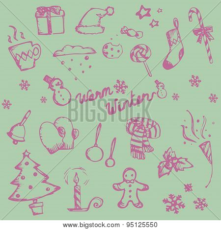 Winter Holiday Doodle Ornament Icon And Leisure Fashion Item And Food Candy Collection Set, Create B