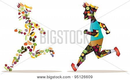 Fruit And Vegetable Icon In Sportsman Human Shape Are Running And Racing Each Other For Good Nutriti
