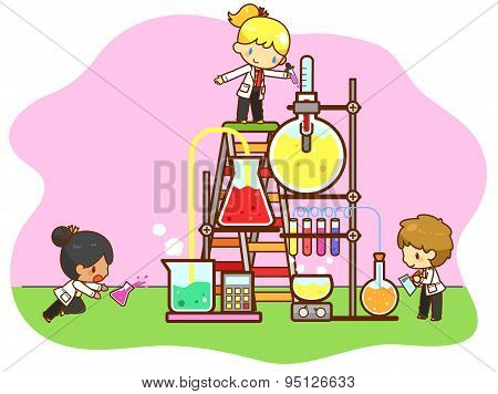 Cartoon Children Are Studying Chemistry, Working And Experimenting In The Cooling Tower Refinery Lab