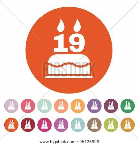 The Birthday Cake With Candles In The Form Of Number 19 Icon. Birthday Symbol. Flat