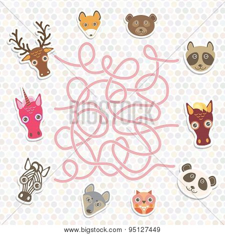 Cute Animals Collection Labyrinth Game For Preschool Children. Vector