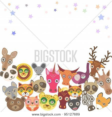 Set Of Funny Animals Muzzle. Template For Your Design. Vector