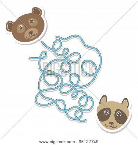 Bear Raccoon Labyrinth Game For Preschool Children. Vector
