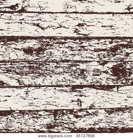Wood Fence Grunge Background, Brown And White Pine Bark Texture. Vector