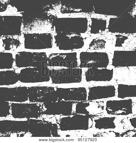 Brickwork, Brick Wall Of An Old House, Black And White Grunge Texture, Abstract Background. Vector