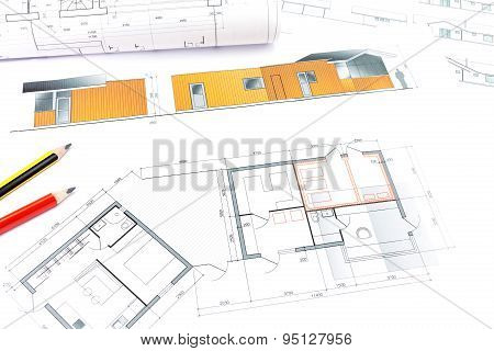 Rolls Of Architecture Blueprint And House Plane