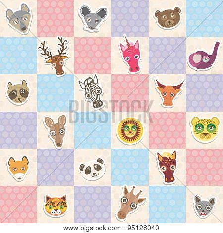 Set Of Funny Animals Muzzle Seamless Pattern With Pink Lilac Blue Square. Vector