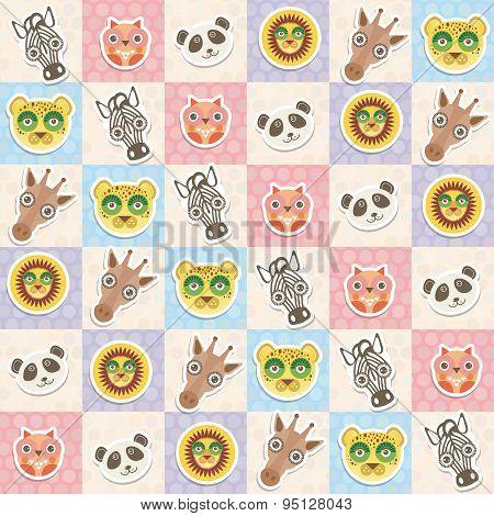 Set Of Funny Animals Muzzle Owl Panda Giraffe Lion Zebra Leopard Seamless Pattern With Pink Lilac Bl