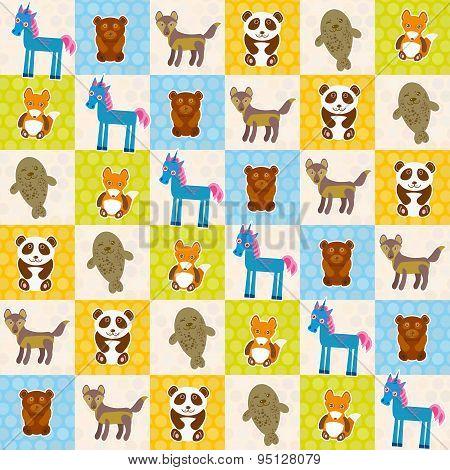 Set Of Funny Animals Panda Bear Wolf Fox Fur Seal Unicorn Seamless Pattern. Polka Dot Background Wit