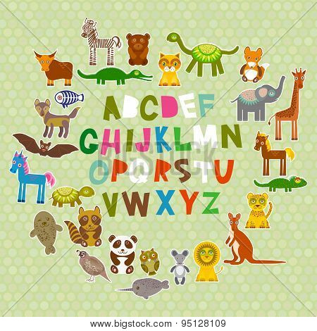 Alphabet For Kids From A To Z. Set Of Funny Cartoon Animals Character. Zoo On Green Polka Dots Backg
