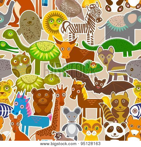 Collection Funny Cartoon Animals Seamless Pattern On Beige Background. Vector