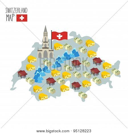 Map Of Switzerland. Attraction Of Berne Cathedral. Characteristics And Symbols Of Country: Cheese An