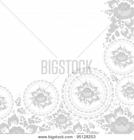 Vintage Shabby Chic Greeting Card With Flowers And Leaves Grey Flowers On White Background. Vector