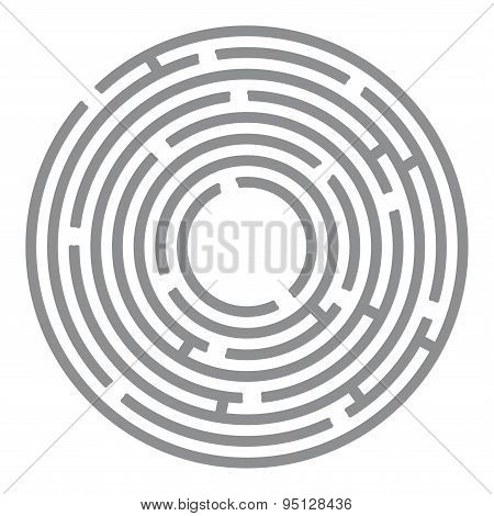 Abstract Futuristic Maze, Gray Circles On White Background. Vector