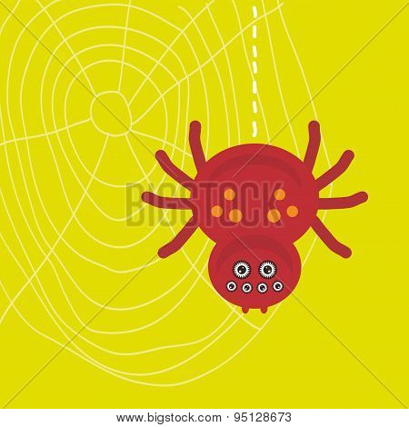 Big Scary Brown Spider Hanging On Its Web On Green Background. Vector