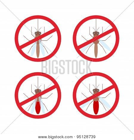 Stop Mosquito Sign In Red Circle. Vector