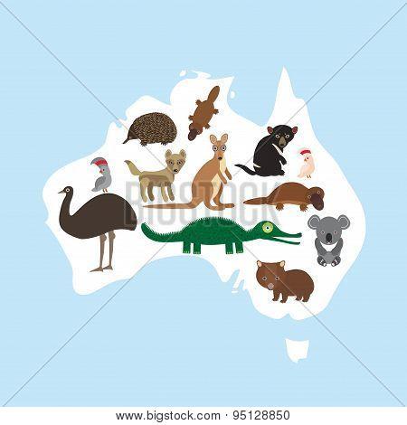 Map Of Australia. Echidna Platypus Ostrich Emu Tasmanian Devil Cockatoo Parrot Wombat Crocodile Kang