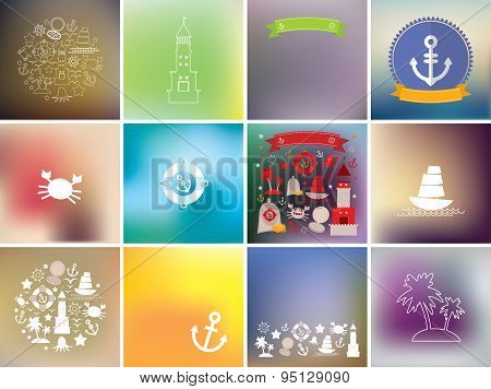 Set Card Template, Icons Marine Style On Blurred Background. Vector