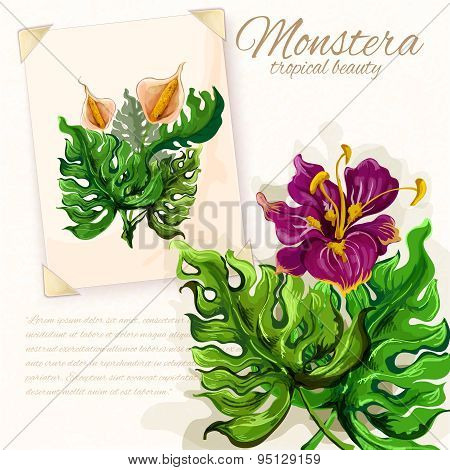 Monstera leaves with hibiscus flowers design
