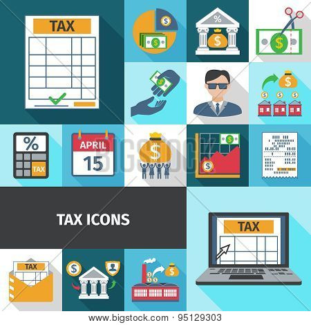 Tax Flat Icon Set