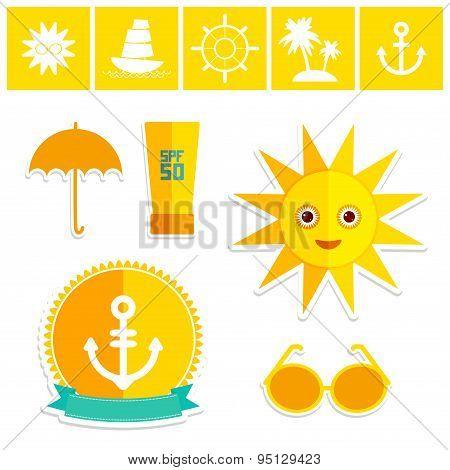 Set Of Summer Vacation Beach. Umbrella Sun Ship Sailing Sunglasses Cream Anchor Steering Wheel Islan