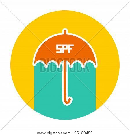 Summer Vacation Beach Round Card Design. Umbrella, Sunscreen, Spf. Yellow Green Blue Orange. Vector