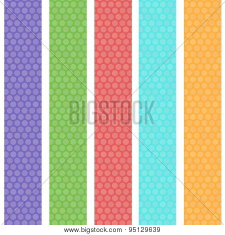 Polka Dot Background Seamless Pattern With Green Orange Pink Lilac Blue Stripes. Vector