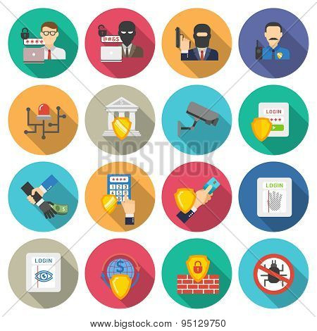 Bank security flat icons set