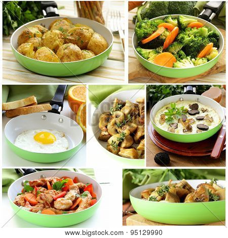collage of different dishes fried in a pan (fried eggs, mushrooms, potatoes, vegetables, fajitas)