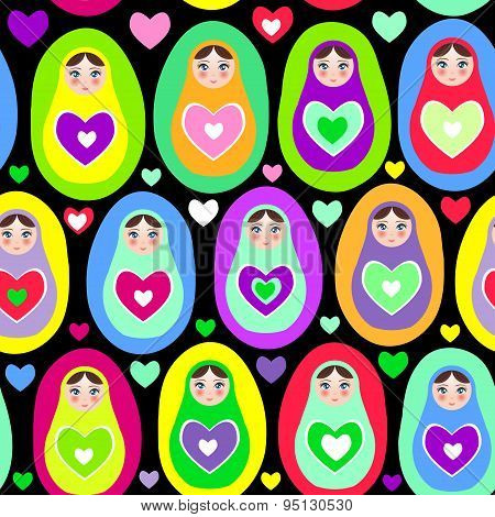 Seamless Pattern Russian Dolls Matryoshka On White Background, Bright Colors. Birthday, Baby Shower,