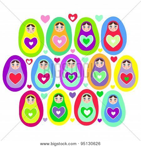 Russian Dolls Matryoshka On A White Background, Bright Colors. Birthday, Baby Shower, Party, Design.