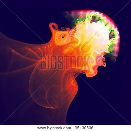 Abstract jellyfish in the ocean. Fractal art graphics