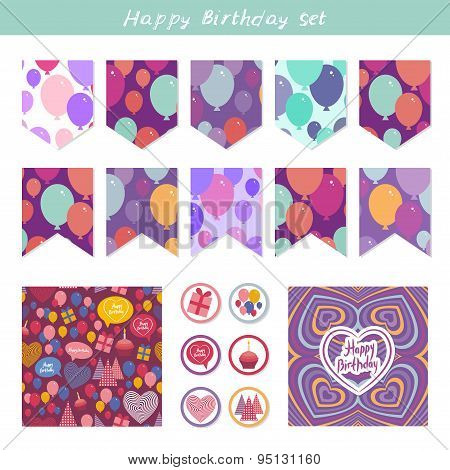 Scrapbook Design Elements. Birthday, Baby Shower, Party Design. Seamless Pattern With Balloons And H