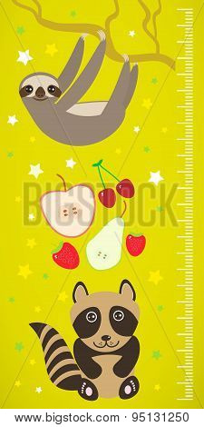 Raccoon Sloth And Apple Pear Strawberry Cherry On Green Background Children Height Meter Wall Sticke