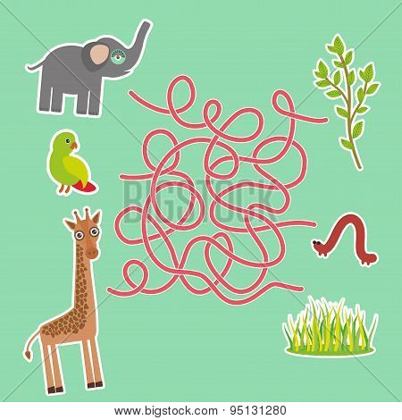 Bird Parrot Elephant And Giraffe On Green Background Labyrinth Game For Preschool Children. Vector