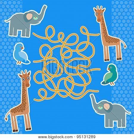 Bird Parrot Elephant And Giraffe On Blue Background Labyrinth Game For Preschool Children. Vector