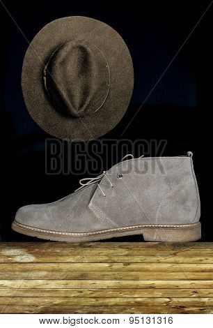 Hat Cloth And Suede Boots