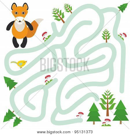 Fox And The Forest On White Background  Labyrinth Game For Preschool Children. Vector