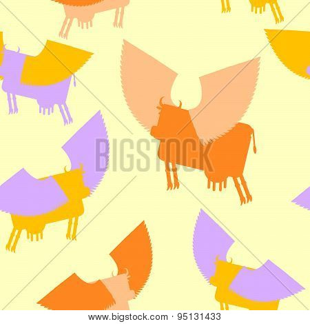 Cow wings seamless pattern. Colored Silhouettes Flying animal. vector background of Fantastic mammal