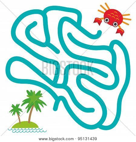 Red Crab And Island With Palm Trees On White Background  Labyrinth Game For Preschool Children. Vect