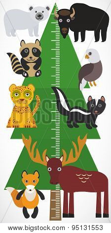 Big Green Tree Spruce, Polar Bear Bison Eagle Leopard Raccoon Skunk Elk Fox On White Background. Chi