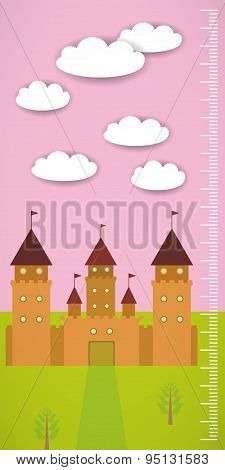 Big Old Fairytale Castle Pink Sky Green Grass And White Clouds Children Height Meter Wall Sticker, K