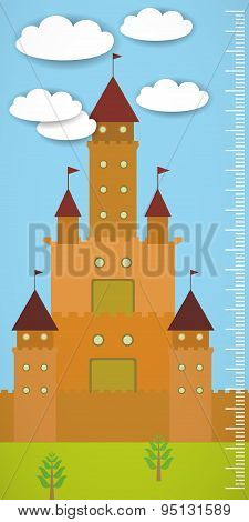 Big Old Fairytale Castle Blue Sky Green Grass And White Clouds Children Height Meter Wall Sticker, K