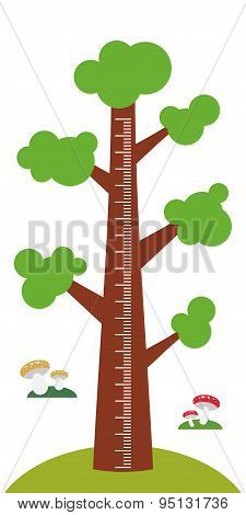 Big Tree With Green Leaves On White Background Children Height Meter Wall Sticker, Kids Measure. Vec