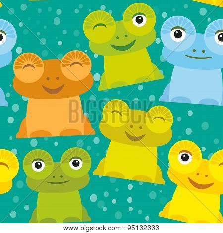 Cute Cartoon Funny Frog Set Yellow Green Blue Orange On Turquoise Background, Seamless Pattern. Vect