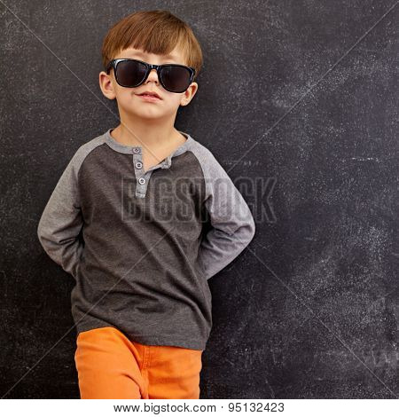 Smart Little Boy In Shades Smirking