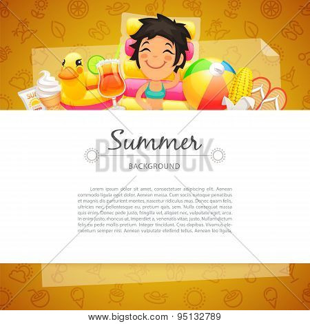 Colorful Summer Background with Girl on Swim Mattress