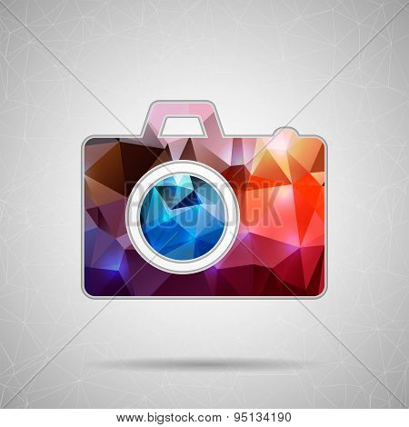 Abstract Creative concept vector icon of photo camera for Web and Mobile Applications isolated on ba