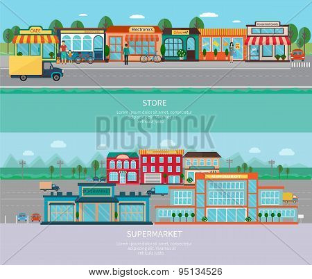 Store and supermarket banners set
